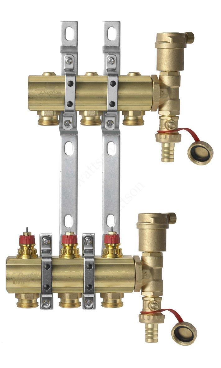 DANFOSS, Коллекторная группа FHF-3 set с клапанными вставками, 3 контура