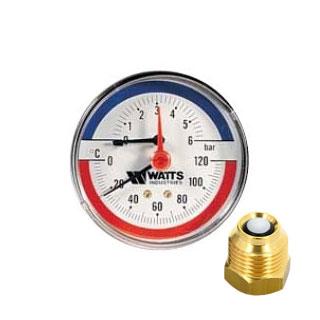 "Термоманометр WATTS TMAX 1/2"" 120 С, 6 бар, задн. подкл., отсек. клапан в комплекте"