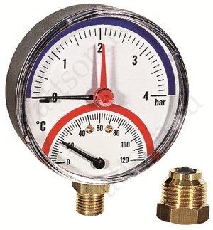 """Термоманометр WATTS TMRA 1/2"""" 120 С, 4 бар, нижнее подключение, отсек. клапан в комплекте"""