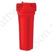 """Фильтр магистральный AQUATECH 10"""" для горячей воды, красный корпус 1/2'' с кронштейном"""
