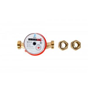 Счетчик воды универсальный DECAST METRONIC ВСКМ-15 L=110 мм + к-т штуцеров с обратным клапаном