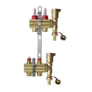 DANFOSS, Коллекторная группа FHF-2F set с клапанными вставками и расходомерами, 2 контура