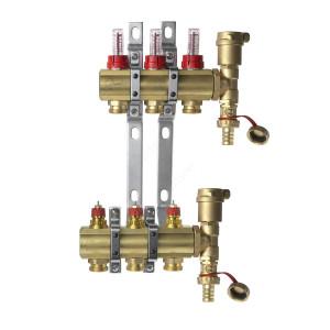 DANFOSS, Коллекторная группа FHF-3F set с клапанными вставками и расходомерами, 3 контура