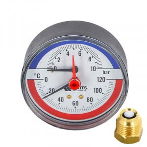 "Термоманометр WATTS TMAX 1/2"" 120 С, 10 бар, задн. подкл., отсек. клапан в комплекте"