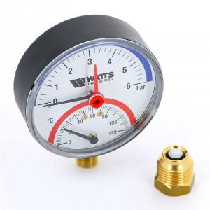 """Термоманометр WATTS TMRA 1/2"""" 120 С, 6 бар, нижнее подключение, отсек. клапан в комплекте"""