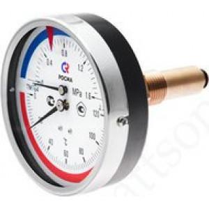 Термоманометр РОСМА ТМТБ-41Т.1 (0 - 120°С) 0 - 0,6 MPa, 100 мм, задн. подкл. G1/2, шток 46 мм, класс 2.5
