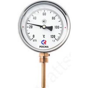 Термометр биметаллический РОСМА БТ-52.211 (0 - 120°С) 100 мм, нижнее подключение G1/2, шток 64 мм, класс 1.5