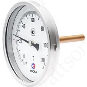 Термометр биметаллический РОСМА БТ-51.211 (0 - 160°С) 100 мм, задн. подкл. G1/2, шток 64 мм, класс 1.5