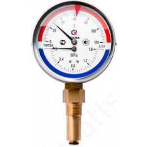 Термоманометр РОСМА ТМТБ-41Р.1 (0 - 120°С) (0 - 0,6 MPa) 100 мм, нижнее подключение G1/2, шток 46 мм, класс 2.5