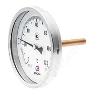 Термометр биметаллический РОСМА БТ-41.211 (0 - 120°С) 80 мм, задн. подкл. G1/2, шток 100 мм, класс 1.5