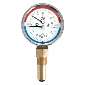 Термоманометр РОСМА ТМТБ-31Р.1 (0 - 120°С) (0 - 0,6 MPa) 80 мм, нижнее подключение G1/2, шток 46 мм, класс 2.5