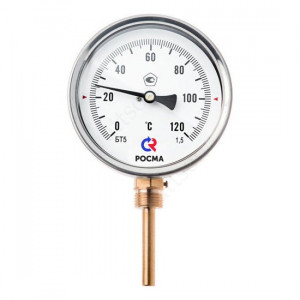 Термометр биметаллический РОСМА БТ-52.211 (0 - 120°С) 100 мм, нижнее подключение G1/2, шток 100 мм, класс 1.5