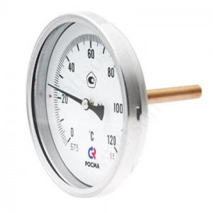 Термометр биметаллический РОСМА БТ-31.211 (0 - 120°С) 63 мм, задн. подкл. G1/2, шток 64 мм, класс 2.5