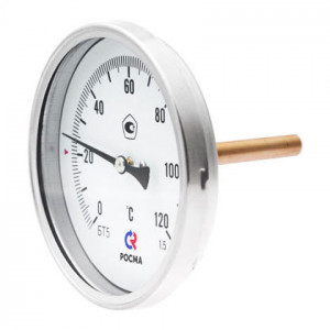 Термометр биметаллический РОСМА БТ-51.211 (0 - 120°С) 100 мм, задн. подкл. G1/2, шток 64 мм, класс 1.5