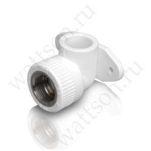 """Угольник FUSITEK Угол 90° комбинированный с внутренней резьбой и креп. PPR белый - 20 x 1/2"""""""