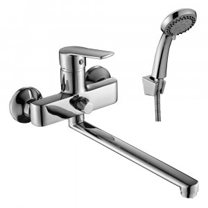 Смеситель DECOROOM DR38043 одноручный  для ванны универсальный с поворотным изливом 300 мм