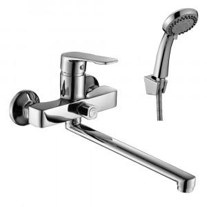 Смеситель DECOROOM DR39043 одноручный для ванны универсальный с поворотным изливом 300 мм