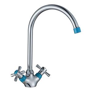 Смеситель DECOROOM DR46028-Blue двуручный  для кухни с высоким повортным изливом