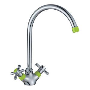 Смеситель DECOROOM DR46028-Green двуручный  для кухни с высоким повортным изливом