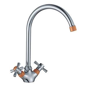 Смеситель DECOROOM DR46028-Orange двуручный для кухни с высоким повортным изливом