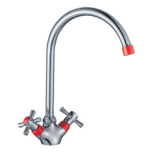 Смеситель DECOROOM DR46028-Red двуручный  для кухни с высоким повортным изливом