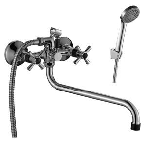 Смеситель DECOROOM DR46045-Black двуручный  для ванны универсальный с поворотным изливом 300 мм