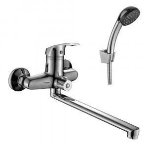 Смеситель DECOROOM DR68043 одноручный для ванны универсальный с поворотным изливом 300 мм