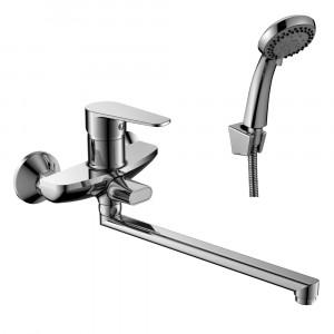 Смеситель DECOROOM DR69043 одноручный для ванны универсальный с поворотным изливом 300 мм