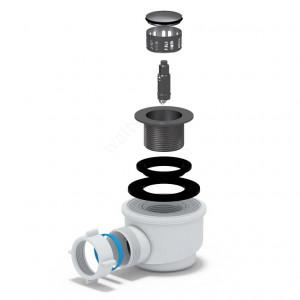 АНИ ПЛАСТ Сифон для душевого поддона 1 1/2'' x 50/60 клик-клак хром + сетка