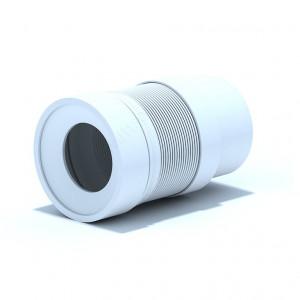 Удлинитель гибкий для унитаза выпуск 110 мм, гладкий с белой манжетой