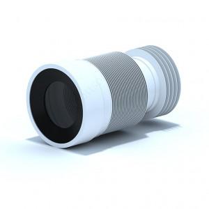 Удлинитель гибкий для унитаза выпуск 110 мм, гофрированный с черной манжетой