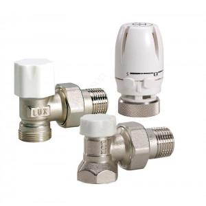 """MVI, Комплект угловой 1/2"""": термоголовка, клапан термостатический, клапан настроечный"""