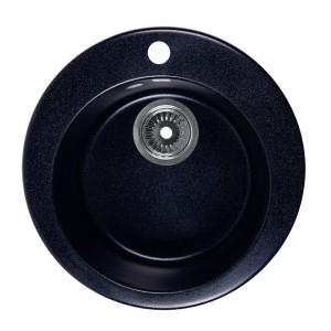 Мойка Rossinka для кухни из исскуственного камня круглая, с сифоном, RS47R-Black