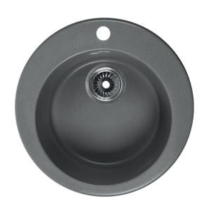 Мойка Rossinka для кухни из исскуственного камня круглая, с сифоном, RS47R-Gray