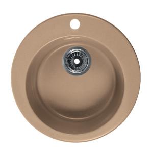 Мойка Rossinka для кухни из исскуственного камня круглая, с сифоном, RS47R-Sand