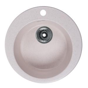 Мойка Rossinka для кухни из исскуственного камня круглая, с сифоном, RS47R-White