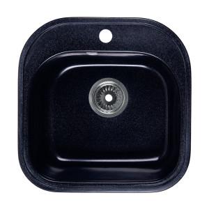Мойка Rossinka для кухни из исскуственного камня квадратная, с сифоном, RS48-49S-Black