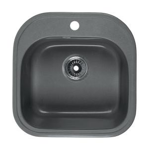 Мойка Rossinka для кухни из исскуственного камня квадратная, с сифоном, RS48-49S-Gray