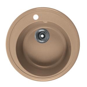 Мойка Rossinka для кухни из исскуственного камня круглая, с сифоном, RS51R-Sand