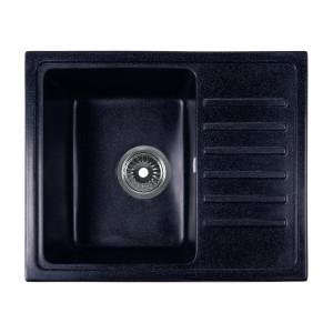 Мойка Rossinka для кухни из исскуственного камня квадратная, с крылом, реверсивная, с сифоном, RS56-46SW-Black