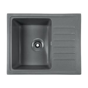 Мойка Rossinka для кухни из исскуственного камня квадратная, с крылом, реверсивная, с сифоном, RS56-46SW-Gray