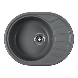 Мойка Rossinka для кухни из исскуственного камня круглая, с крылом, реверсивная, с сифоном, RS58-45RW-Gray