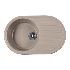 Мойка Rossinka для кухни из исскуственного камня круглая, с крылом, реверсивная, с сифоном, RS74-46RW-Beige