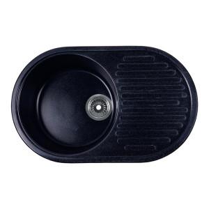 Мойка Rossinka для кухни из исскуственного камня круглая, с крылом, реверсивная, с сифоном, RS74-46RW-Black