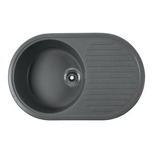 Мойка Rossinka для кухни из исскуственного камня круглая, с крылом, реверсивная, с сифоном, RS74-46RW-Gray