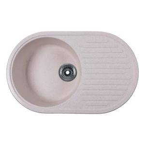 Мойка Rossinka для кухни из исскуственного камня круглая, с крылом, реверсивная, с сифоном, RS74-46RW-White