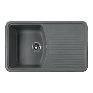 Мойка Rossinka для кухни из исскуственного камня квадратная, с крылом, реверсивная, с сифоном, RS76-47SW-Gray