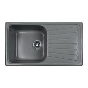 Мойка Rossinka для кухни из исскуственного камня квадратная, с крылом, реверсивная, с сифоном, RS81-46SW-Gray