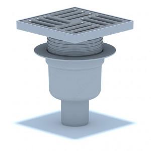 Трап вертикальный выпуск 50 мм регулируемый с нержавеющей решеткой 15 х 15 см