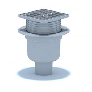 Трап вертикальный выпуск 110 мм регулируемый с нержавеющей решеткой 15 х 15 см, сухой